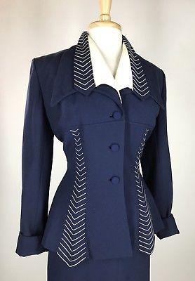 VTG 40s 50s Lilli Ann Nip Waist Skirt Dress Suit Dramatic Embroidered Lapels M L