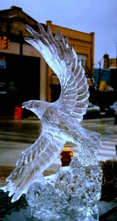 ice sculptures | Ice Impressions, Soaring Eagle Ice Sculpture, steven berkshire, ice ...