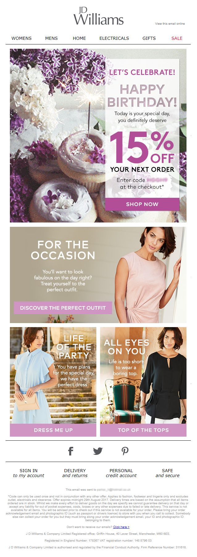 39 best birthday emails images on pinterest birthday email birthday email from jd williams with coupon discount code emailmarketing email marketing