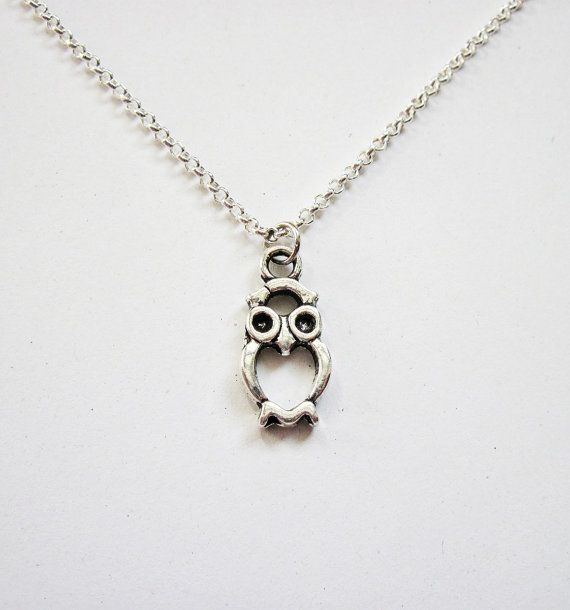 Tiny Owl Necklace Silver Owl Necklace Owl Jewelry by RobertaValle, $12.00