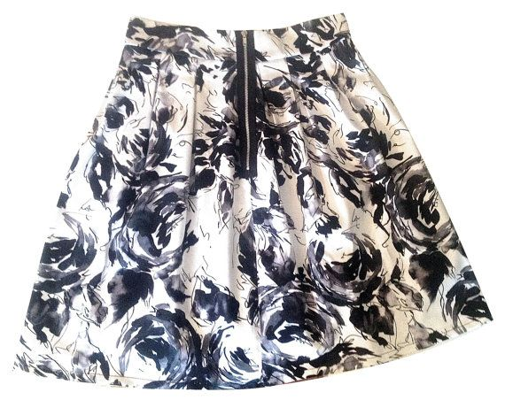 Floral Box Pleat Skirt With Pockets by MaybeByCatalfo on Etsy