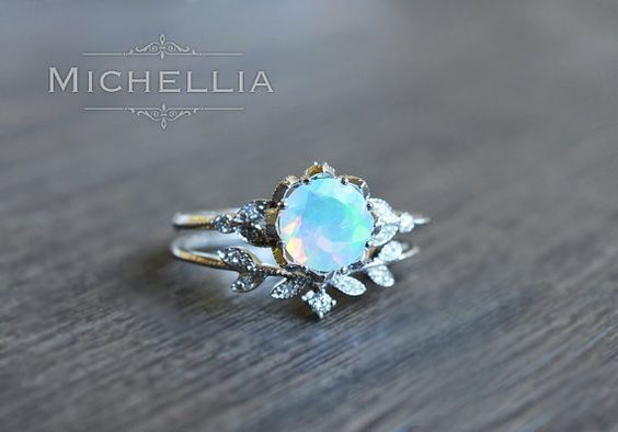 Evanthe Opal Engagement Ring, Vintage Floral Ring in Opal, Floral Engagement Ring, Rose Gold Leaf Ring, 14K 18K Gold, Platinum R2001
