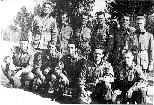This squad from 2nd platoon was photographed in 1943 before E Co. sailed to England. Front row l. to r.:Dewitt Lowery, Chuck Grant, Barney Cunningham, Rod Bain, and Joe Toye. Back row: Burr Smith, Warren H.'Skip' Muck, Don Malarkey, Denver'Bull'Randleman, John Serila, John Sheehy, and Tom Burgess-photo courtesy Don Malarkey.