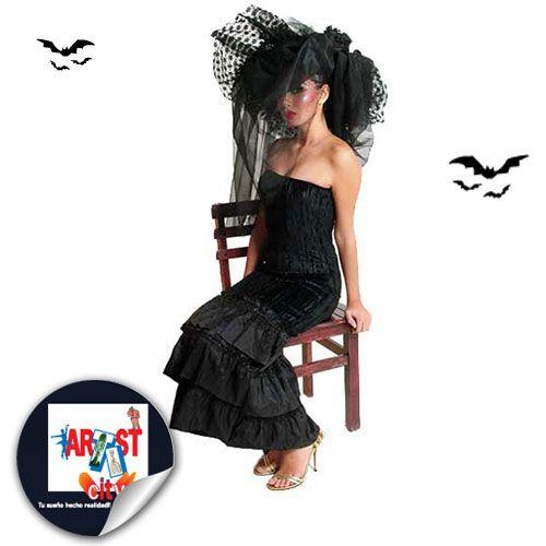 Disfraz de viuda negra para atemorizar esta temporada de Halloween.