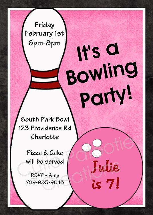 Free Printable Bowling Birthday Invitations | ... Pink Bowling Ball and Pin Birthday Party Invitation Printable Digital