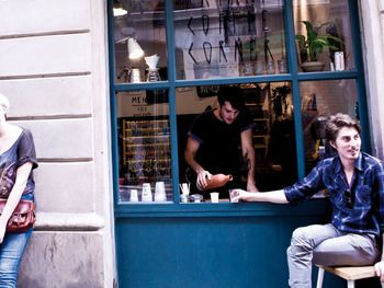 Satan's Coffee Corner, Barcelona. Coffee shop in a window.