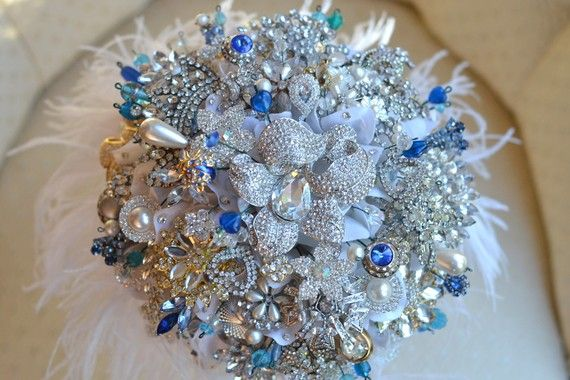 Brooch bouquets - something blue