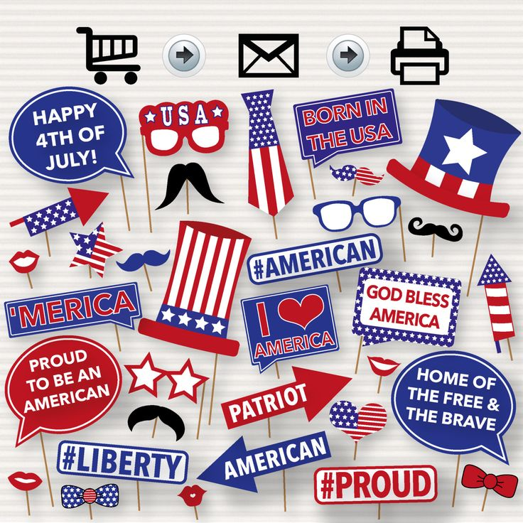 4th of July Printable Photo Booth Props, American Party, America Independence Day Props, Fourth of July - 4 July Party - INSTANT DOWNLOAD by SurpriseINC on Etsy https://www.etsy.com/listing/291777815/4th-of-july-printable-photo-booth-props