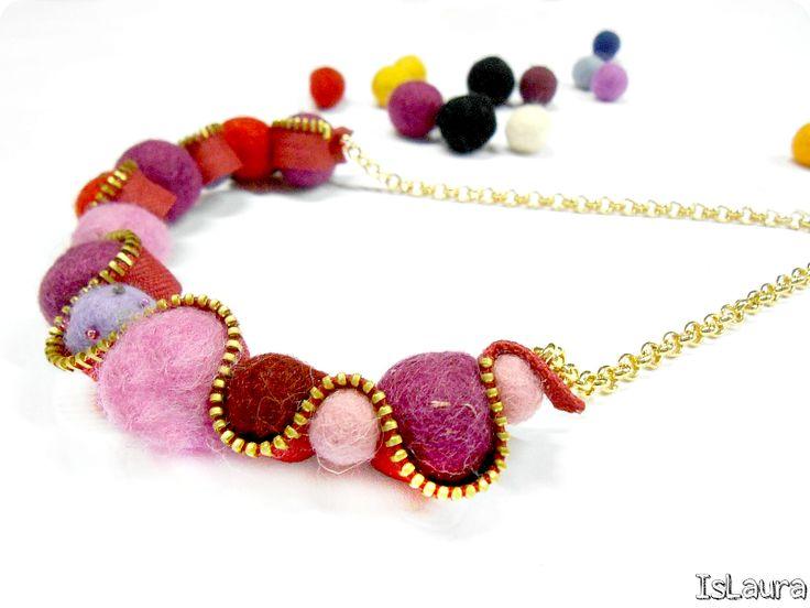 come si fa una collana con cerniere e feltro - felt and zio necklace tutorial