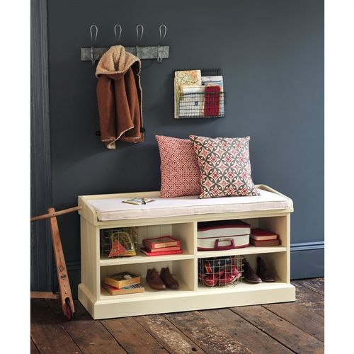 Bourton Painted Shoe Storage Bench With Cushion Shoe Storage Benches Storage Benches And Hall