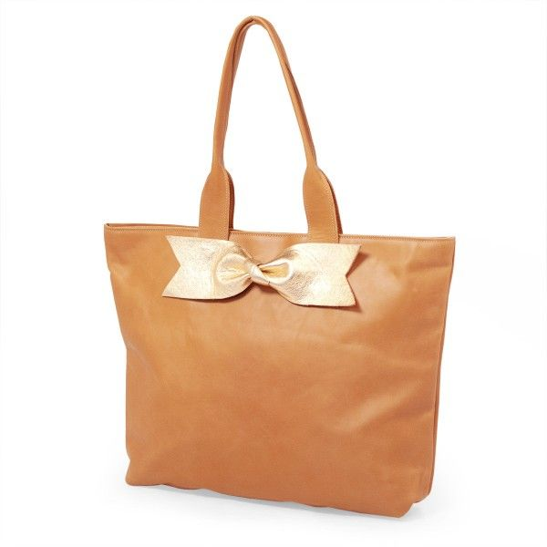Caramel Leather Tote with Gold Bow Accent by Sseko Designs. Lots of different accents available! (Kenya)