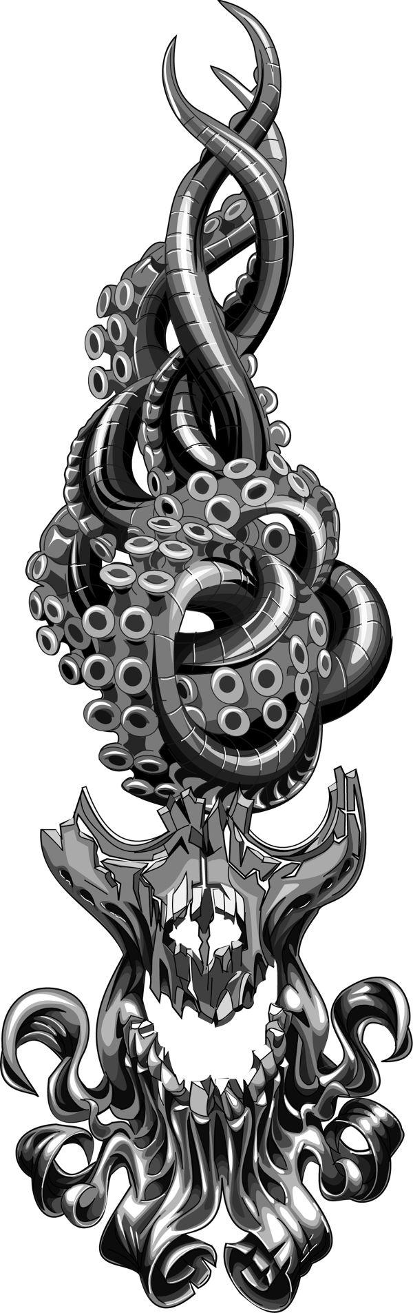 skull octopus flame area code on Behance