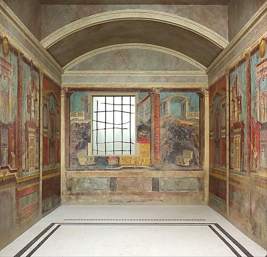 Pompeii. Cubiculum (bedroom) from the Villa of P. Fannius Synistor at Boscoreale  Period: Republican Date: ca. 50–40 B.C. Culture: Roman Medium: Fresco Dimensions: Room: 8 ft. 8 1/2 in. x 10 ft. 11 1/2 in. x 19 ft. 7 1/8 in. (265.4 x 334 x 583.9 cm) Classification: Miscellaneous Credit Line: Rogers Fund, 1903 Accession Number: 03.14.13a–g