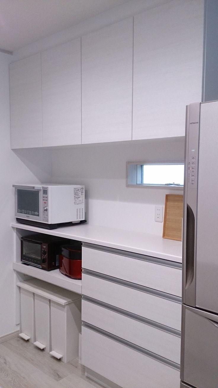 カウンターユニット 4段引出しタイプ 家電収納ユニットという仕様 ゴミ箱周辺がイチオシなんです キッチン 収納 タカラスタンダード 食器棚 収納 引き出し タカラ キッチン