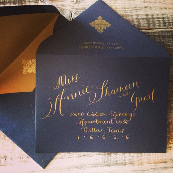 6x9 Wedding Invitation Envelopes: Wedding Calligraphy Addressing In Modern Mix Text Font