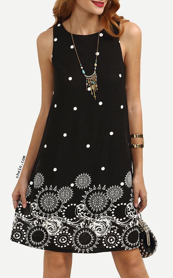 eb9a038836aca Polka Dot Tribal Print Swing Tank Dress | Shein Fashion Style ...