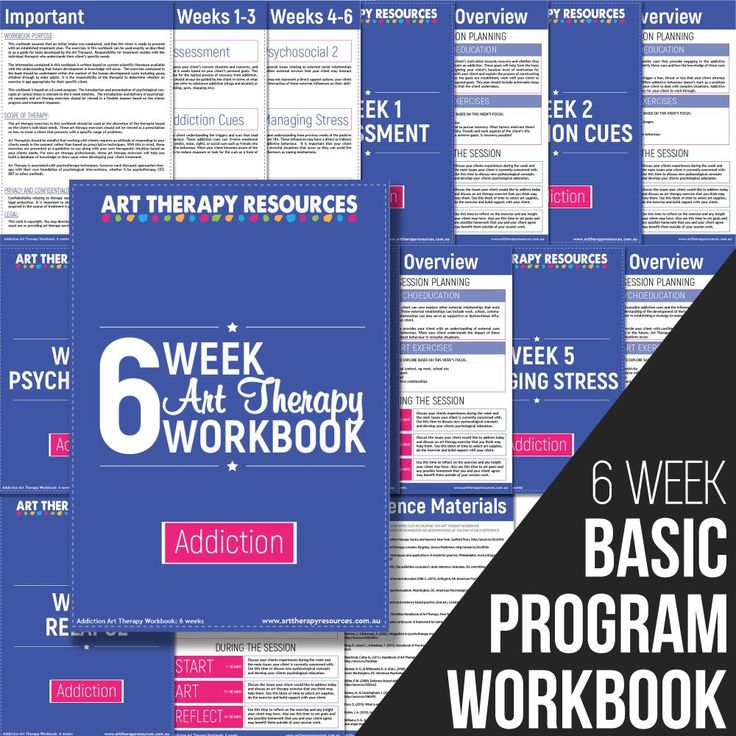 The Art Therapy Addiction Basic Program Workbook outlines a recovery program delivered over 6 weeks. In each week you are provided with a suggested list of art therapy exercises to use with your client.