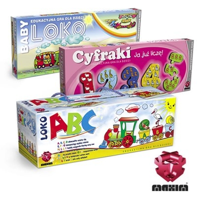 Zestaw 3 gier edukacyjnych, dzięki którym dziecko poznaje cyferki i literki.W skład zestawu wchodzi:-CYFRAKI-BabyLOKO-LOKO ABCW ZESTAWIE MAXIM TANIEJ!