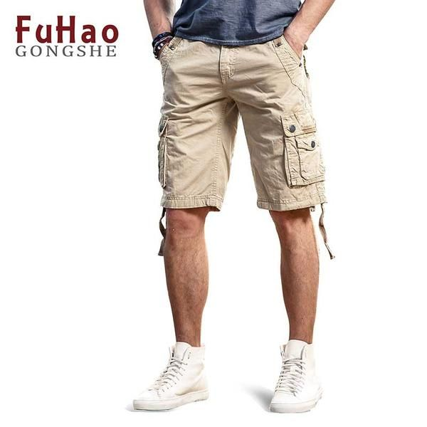 FuzWeb:Plus Size Men's Cargo Shorts Cotton Casual Shorts with Multi-pockets Summer