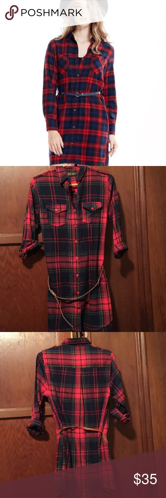 Red Plaid Flannel Shirt NWOT - comes with belt - can wear it as short dress or long shirt with tights - color of belt is beige - see last pictures for actual product color - material is 100% cotton - machine wash cold only - very cute and chic - wear it with cowboy boots for extra touch of coolness - no trades Blue Age Tops