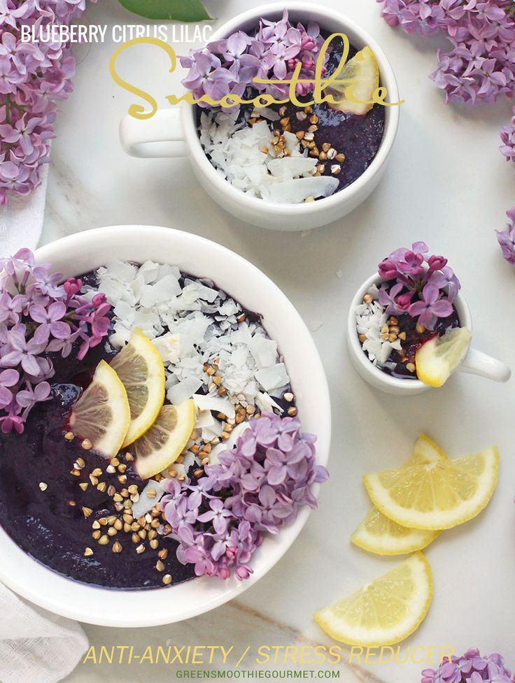 Blueberry Citrus Lilac Fairy Smoothie Bowls - Edible lilac-infused frosty bowl of blueberries, citrus, maqui berry, baobab and white chia seeds