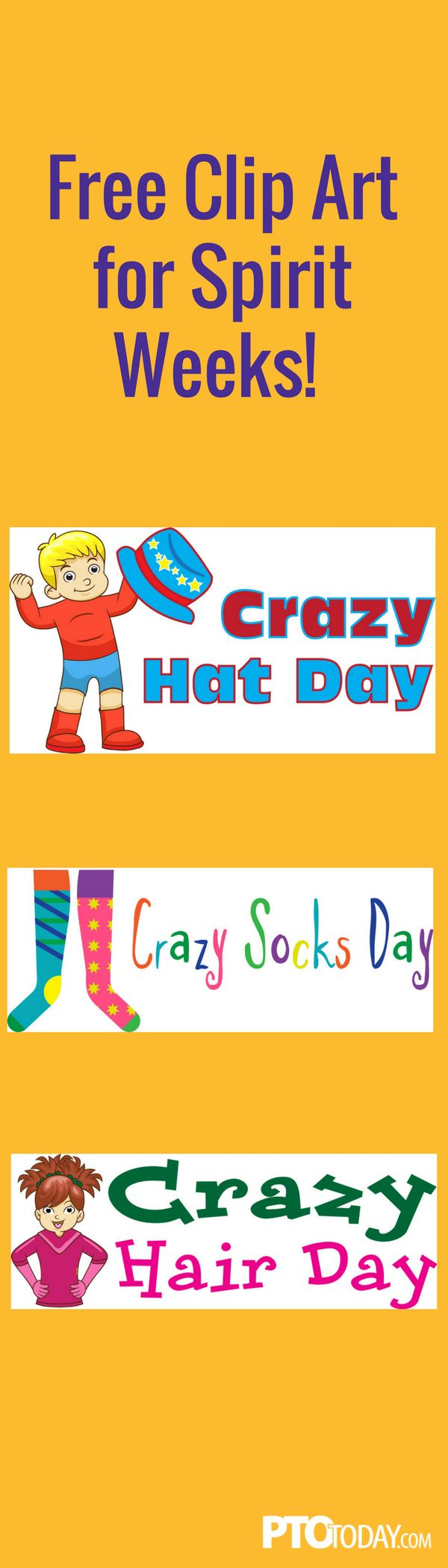 Use our free clip art to help promote Spirit Week at your school!