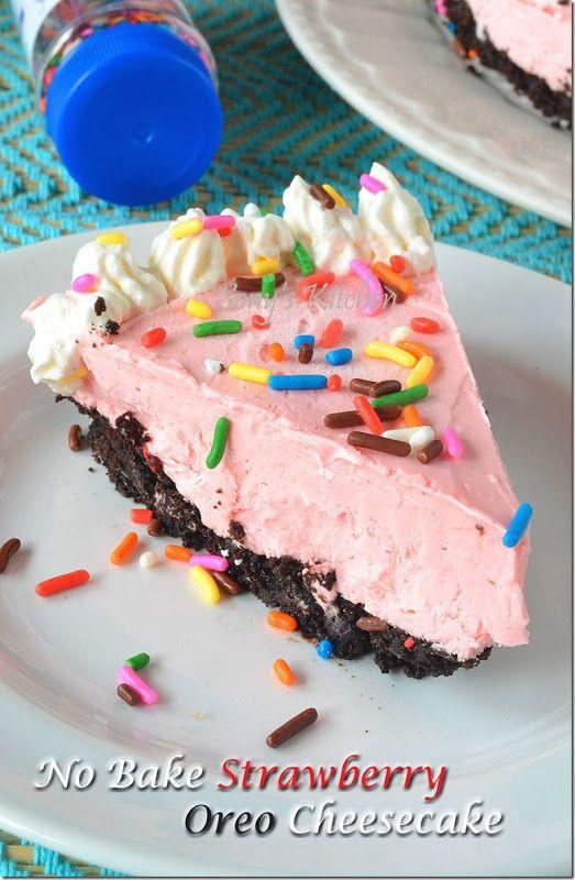 No Bake Eggless Strawberry Oreo Cheesecake–No agar agar No gelatin