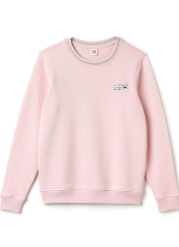 Lacoste LIVE crew neck sweatshirt in unbrushed fleece - ROSIER