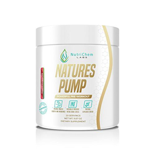 NutriChem Labs NATURES PUMP - Powerful Natural Pre-Workout - Increase Energy and Nitric Oxide Levels - Watermelon - Naturally Sweeteened - 20 Servings -- Check this awesome product by going to the link at the image.