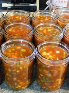 Homemade Vegetable Beef Soup ready for canning