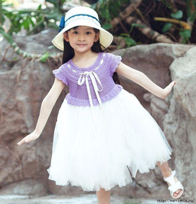 Платье для принцессы. Вязаный крючком верх и туту юбочка (8) (635x660, 234Kb)