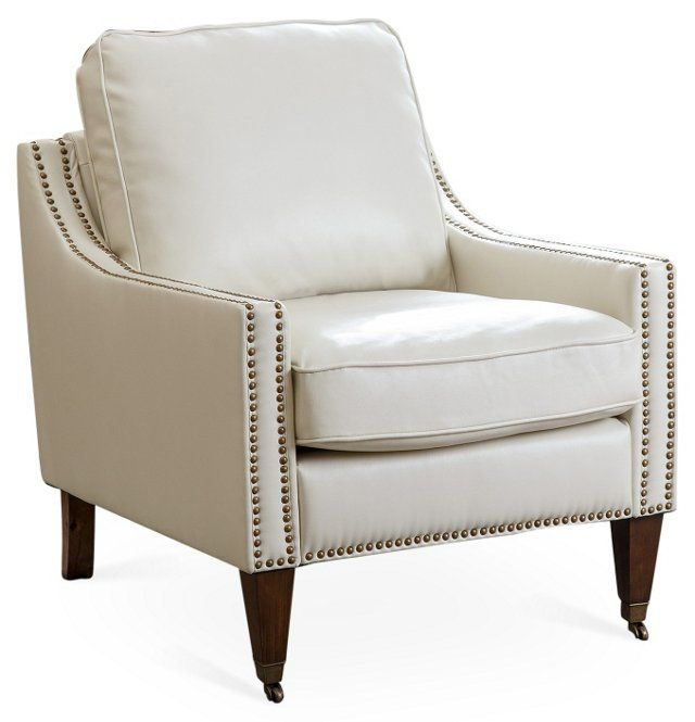 Elias Bonded Leather Accent Chair: Tara Leather Accent Chair, Ivory