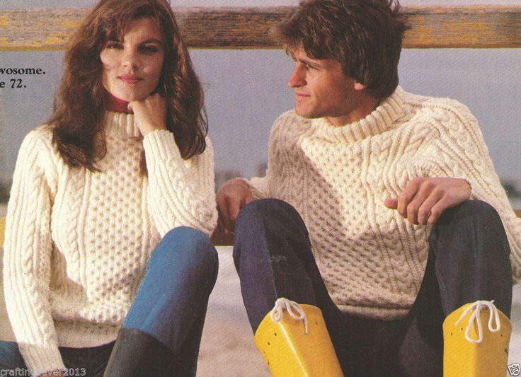 HIS & HERS MATCHING ARAN CABLE POLO NECK WARM JUMPER 1980S 8PLY KNITTING PATTERN