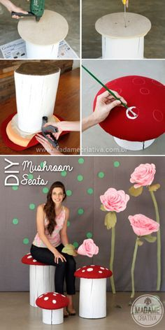 Cutest DIY seats ever!!! I love red mushrooms and everything that reminds me Super Mario Bros! Easy photo tutorial on the website - Banco Cogumelo - Faça você mesmo #mushroom #seat #woodseat