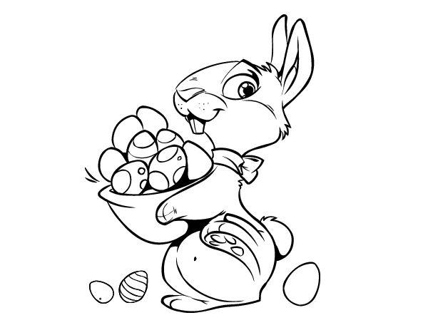 Dibujo de Conejito con huevos de Pascua para colorear