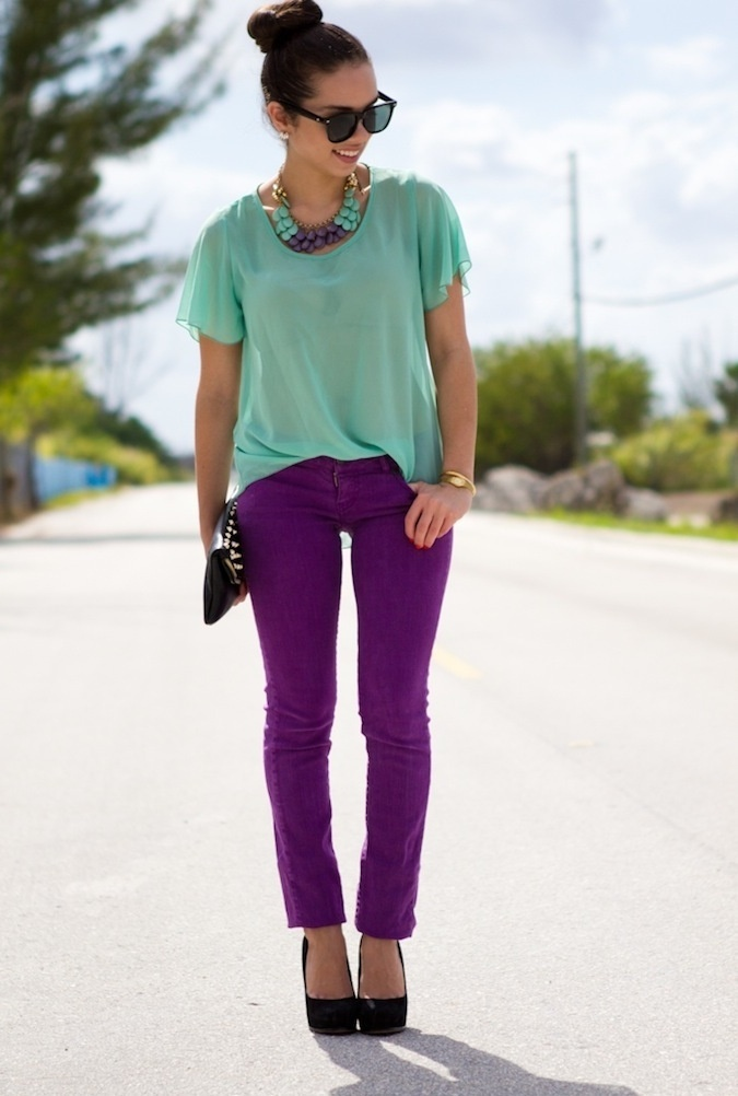 I swore I wouldn't do colored jeans BUT I LOVE purple!