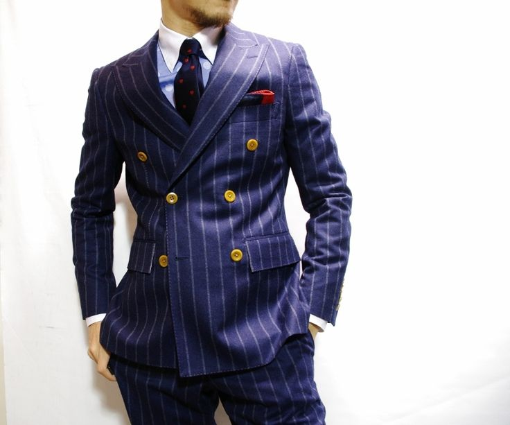 Navy Chalk-stripe Suit & Double Breasted