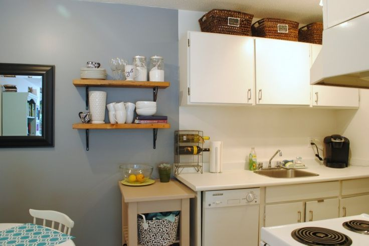 Wicker Baskets Above Cabinets Small Spaces