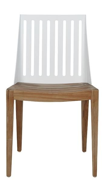 Calais Ali Dining Chair in Powdercoated White/Teak #globewest #contemporary #style #outdoor #furniture