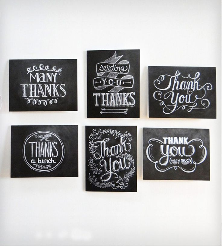 how to write thank you notes for wedding gift cards%0A HandLettered Chalkboard Art Thank You Cards  Set of    Chalkboard IdeasCard  WeddingWedding
