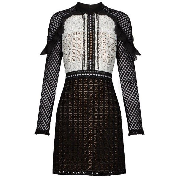 Self-portrait Geometric guipure-lace mini dress ($435) ❤ liked on Polyvore featuring dresses, vestidos, black white, short dresses, evening cocktail dresses, holiday cocktail dresses, lace dress and evening dresses