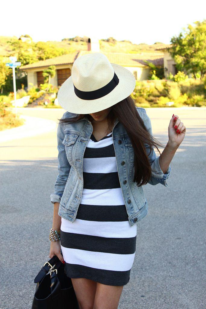 Stripe dress, jean jacket and panama hat