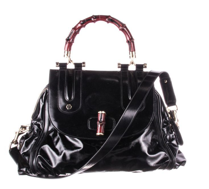 4115c8f69850 GUCCI Black Leather Dialux Pop Bamboo Top Handle Bag  fashion  clothing   shoes