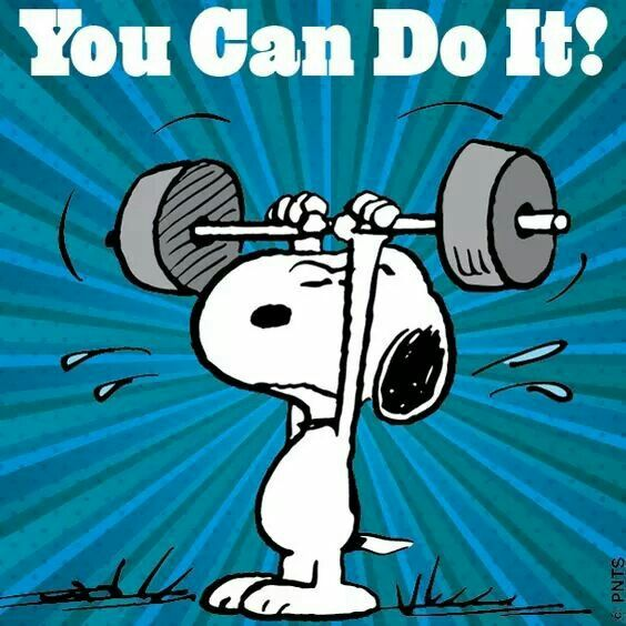 You can do it! Snoopy weightlifting.