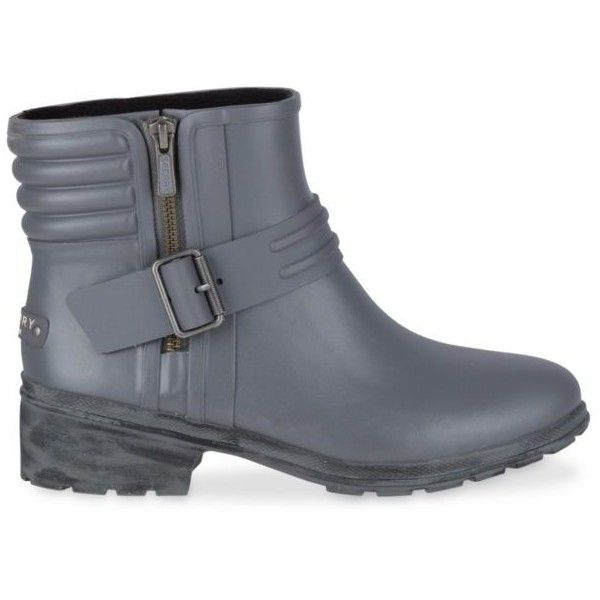 Sperry  Women's Aerial Beck Rain Boot (4.635 RUB) ❤ liked on Polyvore featuring shoes, boots, grey, gray boots, waterproof boots, waterproof ankle boots, rubber rain boots and wellington boots