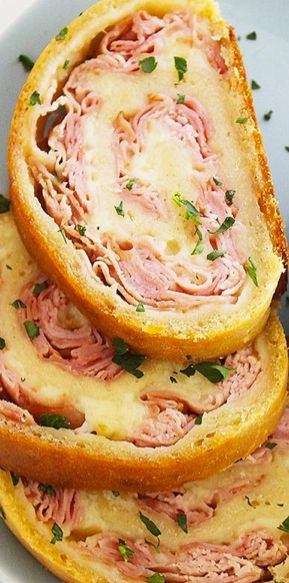 Ham & Mozzarella Pizza Dough Rollup http://www.thecomfortofcooking.com/2014/05/3-ingredient-baked-ham-and-cheese-rollups.html