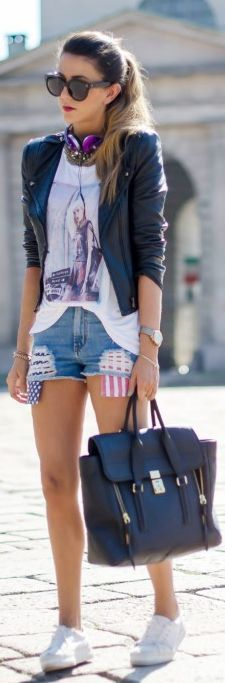 Short Con Bandiera Americana Chiodo In Pelle - Sporty Outfit by Scent Of Obsession