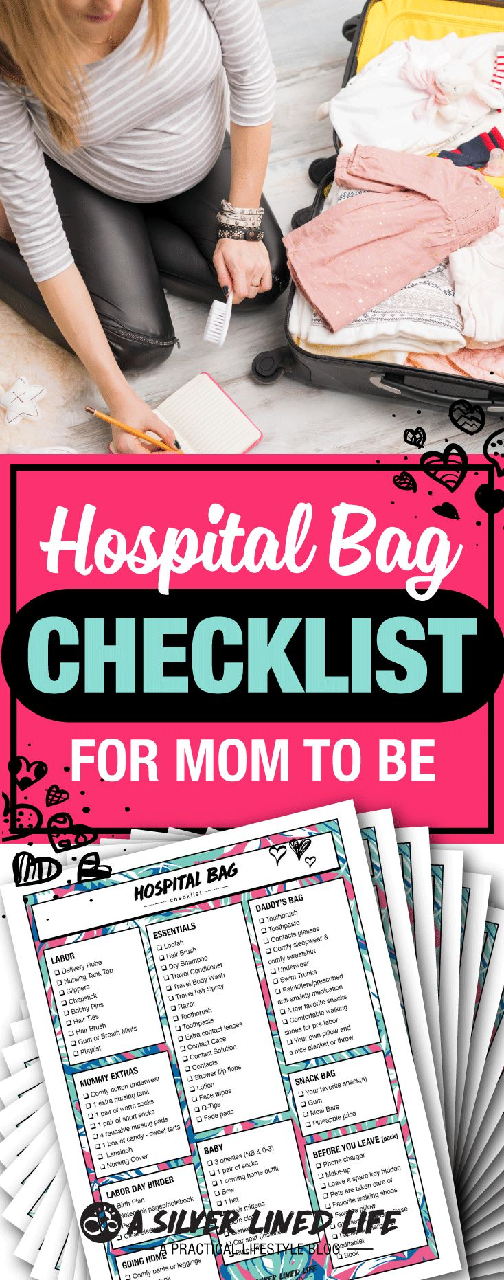 Hospital Bag Checklist, For Mom To Be: FREE Printable! Best packing list for you, your baby and family! A simple, realistic and organized ultimate list.