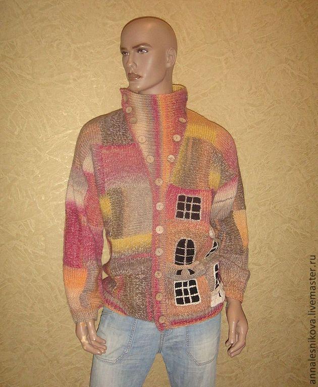 """Купить Жакет мужской """"Дом Гауди""""-2 - рисунок, лучшая пряжа, Гауди, Анна Лесникова"""