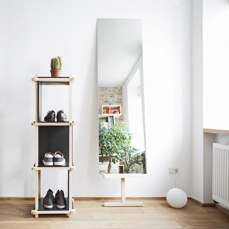 A mirror on Stilt, hanging out next to a Knot Shelf #mwa #makerswithagendas #mwadesign #agendadrivendesign #mwagram #nomadicliving #minimallogistics